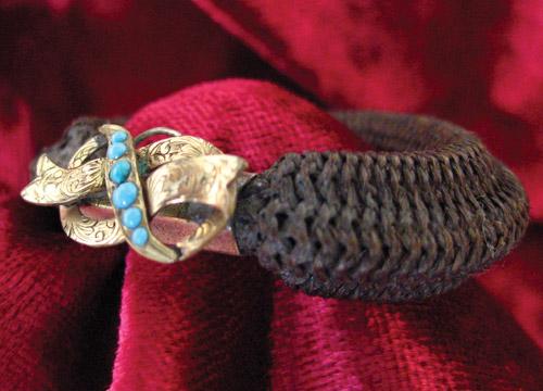 Turquoise Hairwork Bracelet