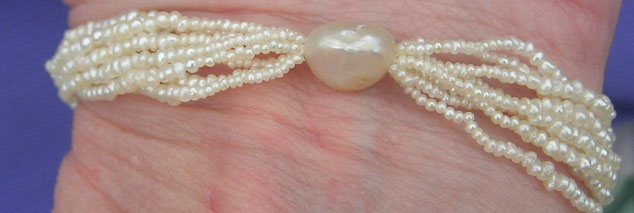 Seed Pearl Hairwork Bracelet and Necklace