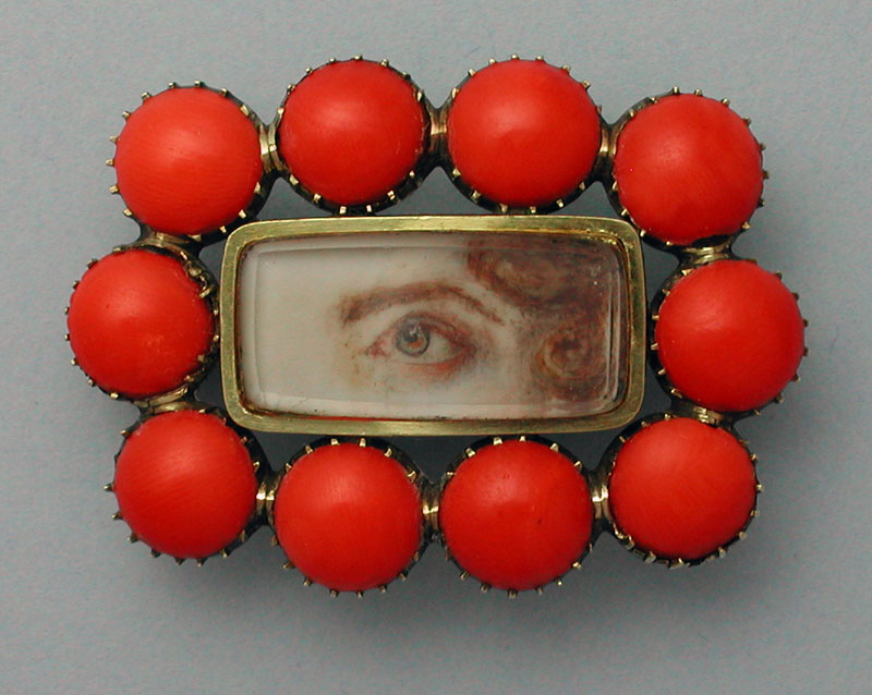 Coral Eye Portrait Brooch Georgian