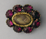 foiled amethysts/paste 19th Century Brooch