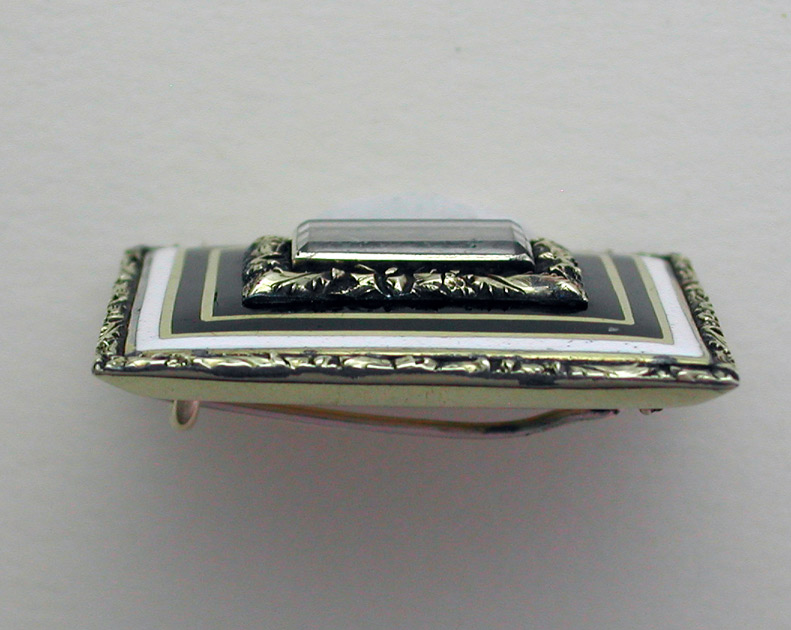 Black Enamel 19th Century Brooch