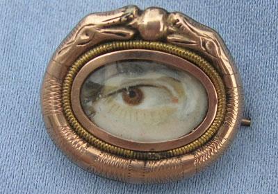 Serpent Eye Portrait Brooch Georgian