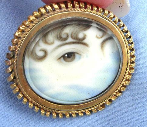 Curl Eye Portrait Brooch Georgian