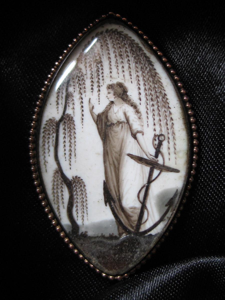 Weeping WIllow, Navette Shape Mourning Brooch
