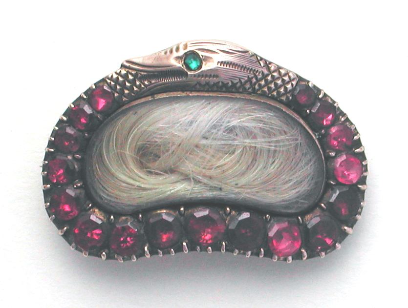Serpent Snake Garnet Paste 19th Century Brooch