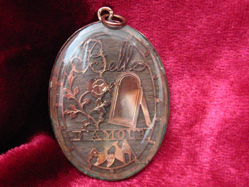 Belle d'Armour Pendant French Hairwork 19th Century