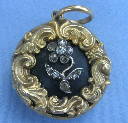 Gothic Revival Locket Diamond Forget Me Not