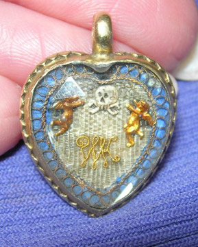 Stuart Crystal Heart Memento Mori Locket