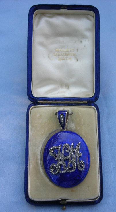 Edwardian Child Miniature with Blue Enamel Case