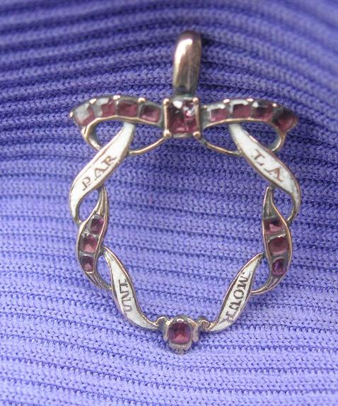 Georgian Heart Crystal Pendant 18th Century Ribbon French