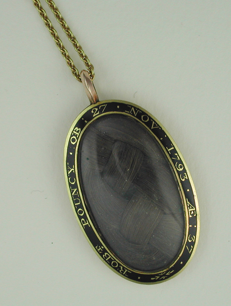 Black Enamel Mourning Pendant Hairwork Neoclassical