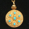 Turquoise Forget-Me-Not Locket with Hairwork