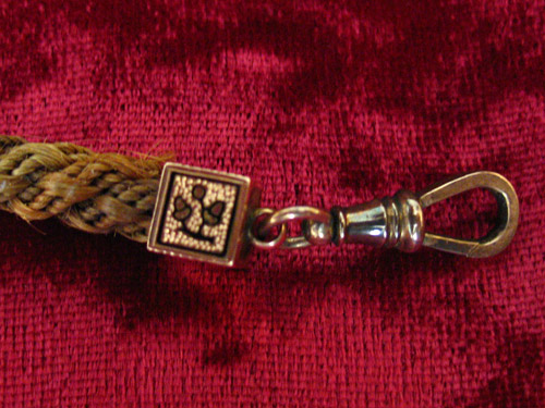 Victorian Hairwork Fob Chain With Enamel