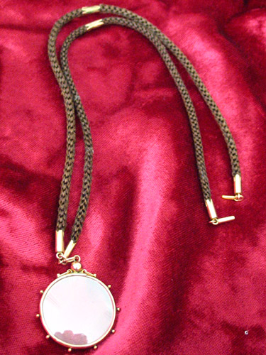Hairwork necklace with locket
