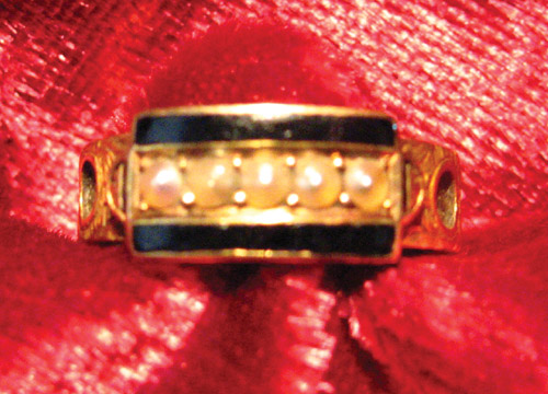 1888 Mourning Ring, Black Enamel