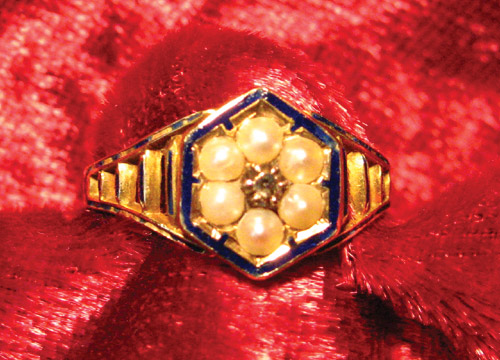 Blue Enamel Late Victorian Family Mourning Ring