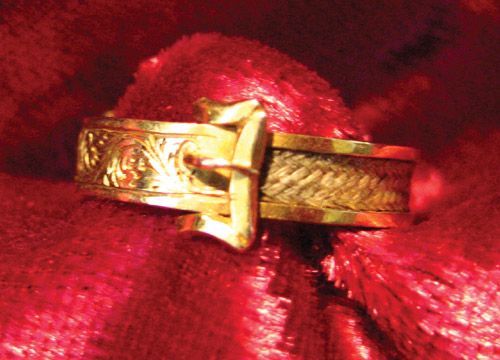 Blond Hairwork Buckle Band 1881