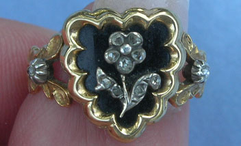 Forget-me-not diamond heart mourning ring