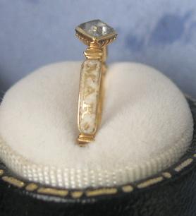 1730 Stuart Crystal Ring White Enamel
