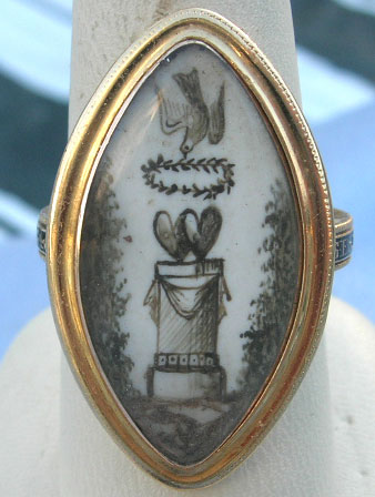 Sentimental 1780s ring dove, wreath, hearts, column