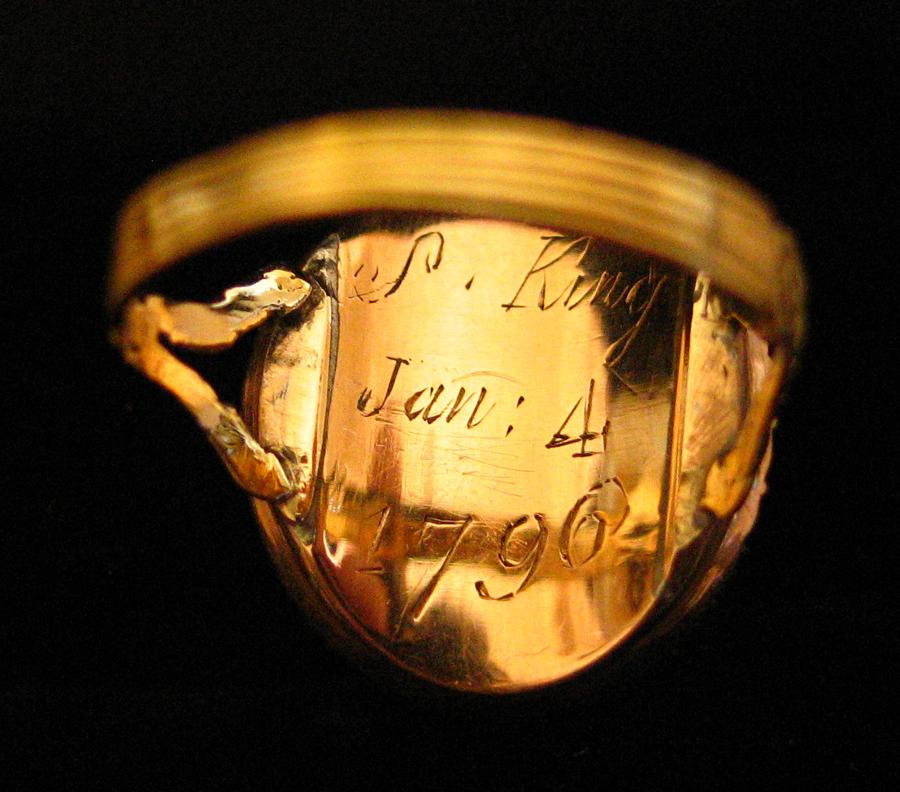 Blue Enamel 1796 Oval Pearl Ring