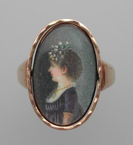 Swivel Miniature Mourning RIng Portrait