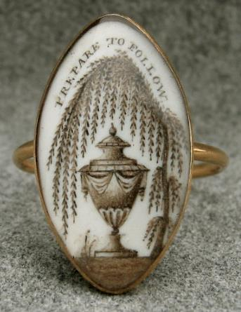 Prepare To Follow Sepia Urn Mourning Ring Neoclassical