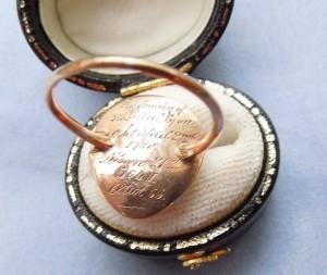 Engraving on garnet ring