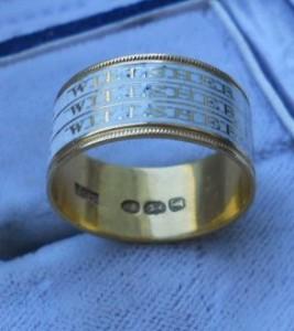 Triple Mourning Ring, White Enamel
