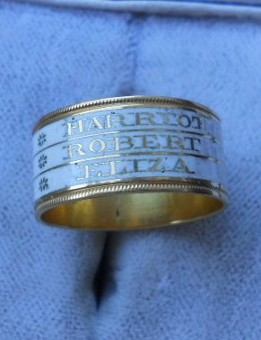 Triple Mourning Ring, White Enamel
