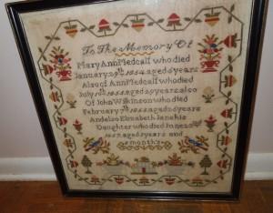 mourning sampler Mary Ann Medcalf 1857