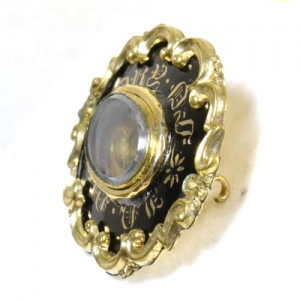 Black Enamel Mourning Brooch Gothic Revival In Memory Of