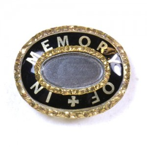 Black Enamel Mourning Brooch Victorian Standard In Memory Of