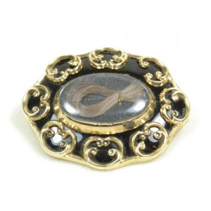 Black Enamel Mourning Brooch Hair Twist