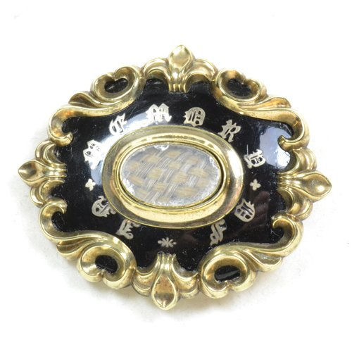 Black Enamel Mourning Brooch Small Text In Memory Of