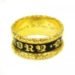 "Mourning Ring, 18ct Gold and Enamel, Hallmarked London 18ct Gold Dated 1827 inscribed with ""Wm (William) Wrightson ob 26 Dec. 1827 At 75"""