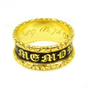 Mourning Ring, 18ct Gold and Enamel, Hallmarked London 18ct Gold Dated 1827 inscribed with