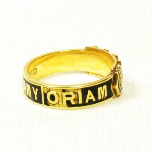 In Memoriam TOMMY 15ct Gold, Split Pearl, Enamel. Date 1881.