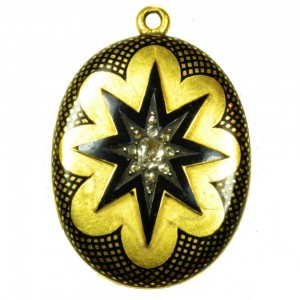 Front of locket: diamond, starburst