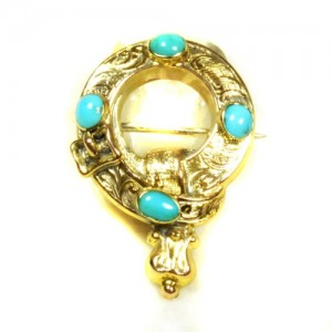 Turquoise brooch hair buckle