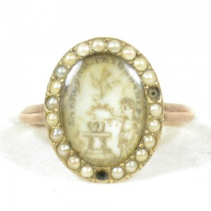 Sepia ring, c.1770, pearls, cherub, wreath, column, hearts, dove