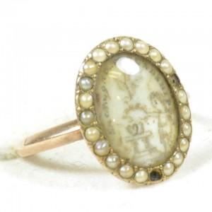 Sepia ring, c.1770, pearls, cherub, wreath, column, hearts, dove