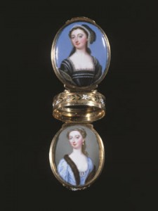 'Friendship' Box' By Christian Friedrich Zincke c.1740 from The Stuart Collection. It is painted enamel and Elizabeth Montagu is the upper portrait (dressed as Anne Boleyn)..