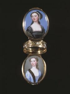 'Friendship' Box' By Christian Friedrich Zincke c.1740 from The Stuart Collection. It is painted enamel and Elizabeth Montagu is the upper portrait (dressed as Anne Boleyn)..