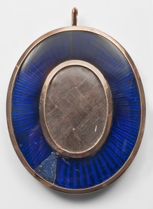 Blue cobalt glass reverse 19th century miniature