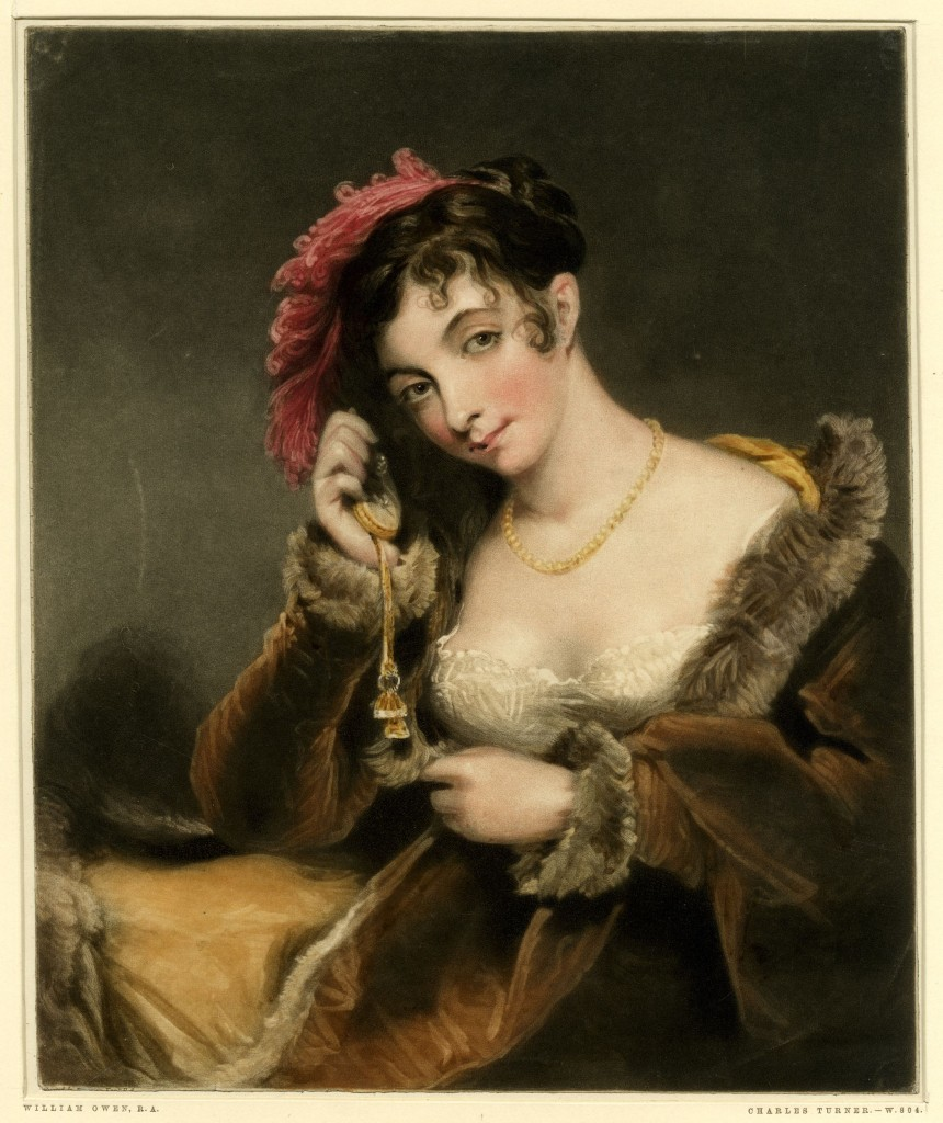 A fashionable young lady, half-length, holding a watch to her ear Mezzotint printed in colour