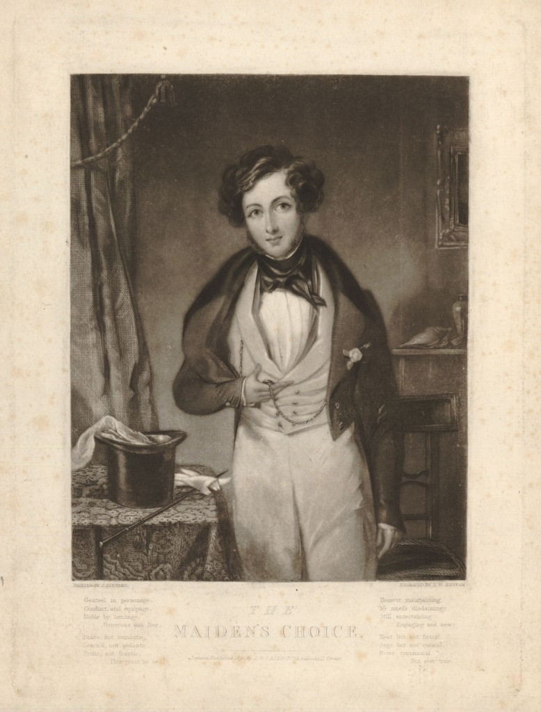A young man in fashionable Victorian dress, shown three-quarters length standing directed slightly to left, holding his watch in his right hand, glancing towards the viewer; gloves, whip, top hat and handkerchief on a table beside him, chair, mantelshelf with a conch-shell and vase, and picture in the background; after Stewart. 1841 Mezzotint with some etching