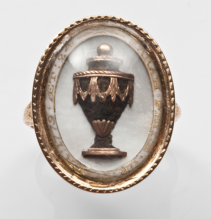 Mother of pearl, urn, three dimensional hair mourning ring 1779