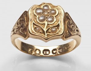 Forget me not symbolism victorian ring