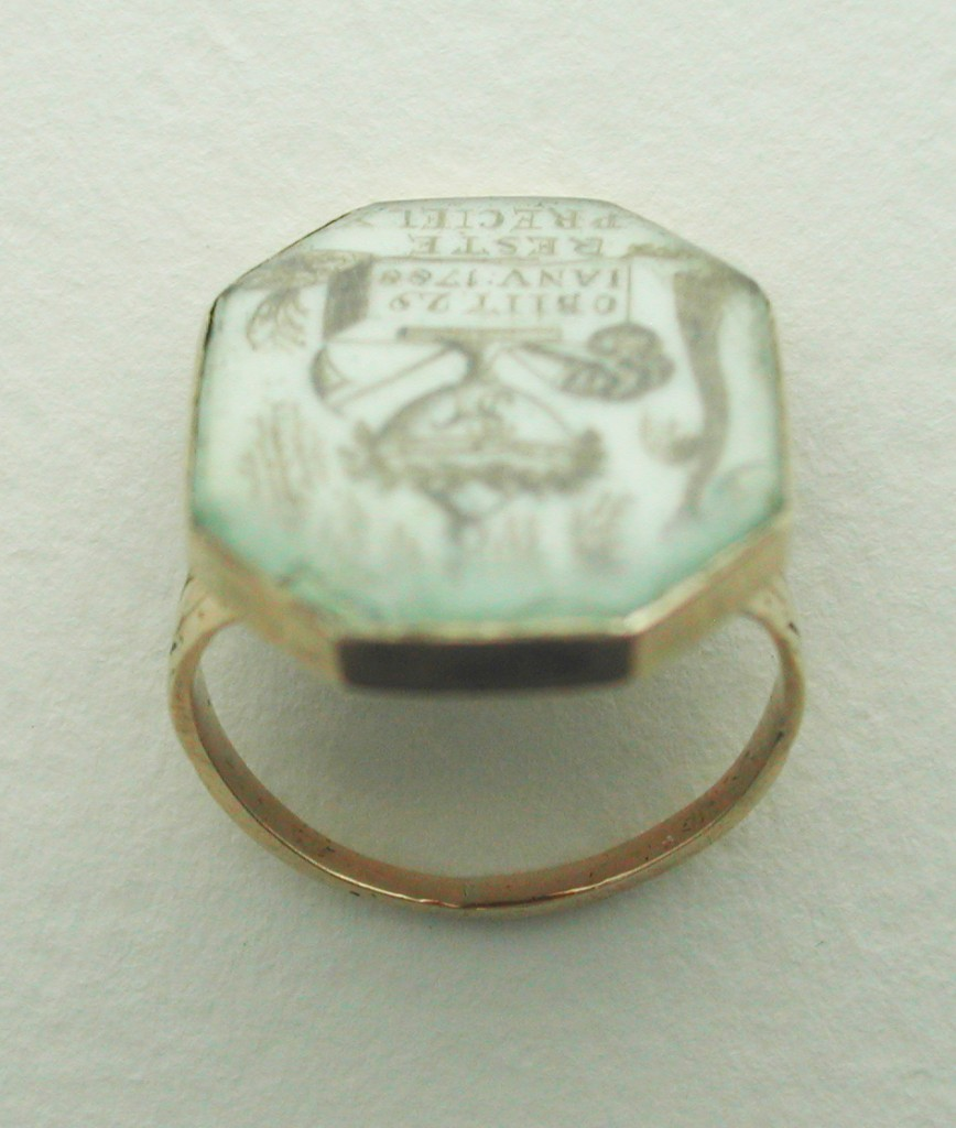 French 1788 sepia hair mourning ring
